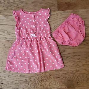 3/$15 Pink Polka Dot Dress Summer White Buttons